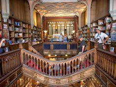 Upstairs at Livraria Lello bookstore, Porto, Portugal