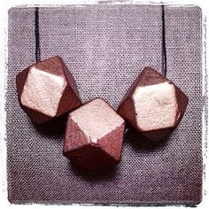 Champagne Painted Polyhedron Necklace. Limited edition. on Etsy, $35.00