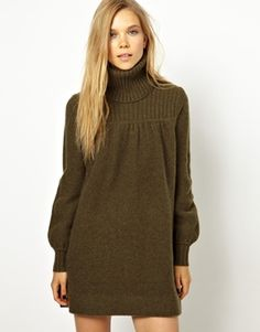 Madeleine Thompson Lilly Dress with Polo Neck in Cashmere Wool - Love love love these large chunky sweater dresses!