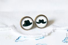 Moustache and Hat stud EARRINGS by ManuelaS on Etsy, €10.00