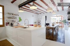 Great Contemporary Apartment Concept in Modern Era: White Kitchen Island In Appealing Chic Barcelona Apartment