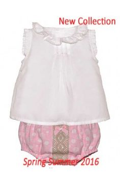 Conjunto de bebé niña camisa blanca y braga rosa Dolce Petit