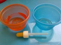 concentração e coordenação motora: passar água de um potinho para o outro com conta gotas