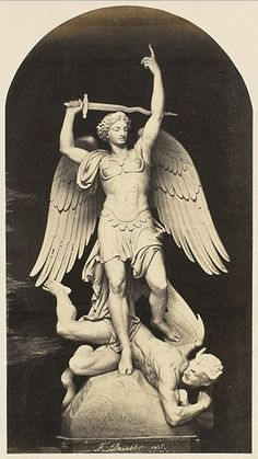 hismarmorealcalm:  Edouard Denis Baldus Paris Sculpture de F. Duret Saint-Michel entre 1860 et 1862 épreuve sur papier albuminé à partir d'un négatif papier Musée d'Orsay