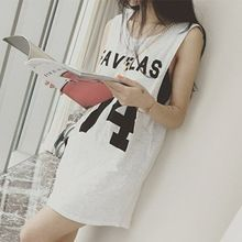 Фавелах 74 Письмо Футболка с Принтом Dress свободные футболка без рукавов летние сарафаны для женщин мини платья Танк(China (Mainland))