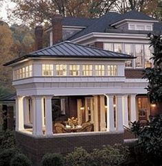 Capping a porch with a clerestory and a pyramid roof adds up to an outdoor space that becomes a giant lantern at night. So pretty! My dream home inspiration Humble Abode, My Dream Home, Exterior Design, Exterior Paint, Home Projects, Future House, Beautiful Homes, Outdoor Living, Outdoor Rooms