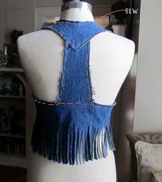 denim vest from old blue jeans