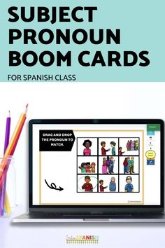 Have you tried BOOM Cards with your students? They're digital and self-checking, which means students get instant feedback, and you don't have to grade! They're self-grading! Your students can read, listen, and write to get practice! This set is perfect for your middle school and high school Spanish classes as they study subject pronouns! It's the perfect activity for homework, review, or even formative assessment! Click to see more and to try it out! Middle School Spanish, Spanish Lesson Plans, Formative Assessment, Interactive Cards, Homework, Task Cards, Students, Spanish 1, Spanish Classroom