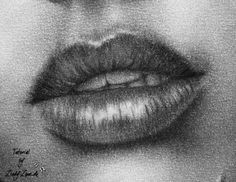 Mouth drawing in charcoal, step 9