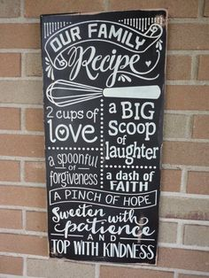 "nice Kitchen Decor/Family Sign/Our Family Recipe/Kitchen Sign/Home Decor/Kitchen Typography Sign/Rustic/Primitive/DAWNSPAINTING/12"" x 24"" by http://www.best99-home-decorpictures.us/decorating-kitchen/kitchen-decorfamily-signour-family-recipekitchen-signhome-decorkitchen-typography-signrusticprimitivedawnspainting12-x-24/"