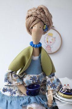 Кукла Тильда блондинка - голубой,фисташковый,кукла Тильда,кукла блондинка ... Love her hair #TildaDoll