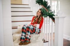 Gal Meets Glam Holiday Red - Old Navy Thermal tee, pants, socks & slippers c/o