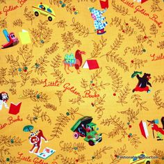 Fabric... Little Golden Book Tossed Characters on Yellow by Quilting Treasures