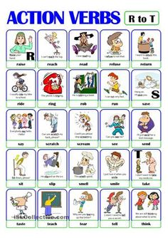 This is the fourth worksheet of the ACTION VERB set. It includes verbs from r) to t). There is always a picture and an example sentence to help make the meaning clearer. Learning English For Kids, English Worksheets For Kids, Kids English, English Activities, Vocabulary Activities, English Language Learning, English Lessons, Teaching English, Learn English