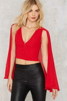 Nasty Gal Night Fire Cape Top - Red - Valentine's Day