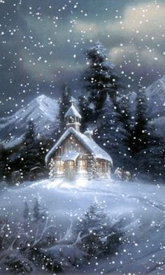 A beautiful animated winter GIF. In this GIF snow falling on a church. Its a cool screen saver and also a very special GIF for Christmas. Vintage Christmas Cards, Christmas Pictures, Christmas Art, Winter Christmas Scenes, Christmas Graphics, Christmas Candles, Winter Szenen, Winter Night, Brown House