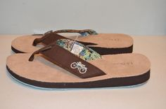 L.L. Bean Ladies ME Isle Flip Flop Leather Footbed-Coffee Bean/Bike-Various Size