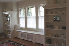 Window Seat, but shelves up to the ceiling! Cupboard Drawers, Cupboards, Future House, My House, Big Girl Rooms, Window Seats, Home Crafts, Home Remodeling, Homeschooling