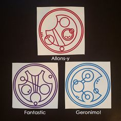 1x Gallifreyan Phrase Vinyl Decal: Fantastic Geronimo or Allons-Y! Doctor Who stickers for cars laptops phones tablets notebooks etc (3.25 USD) by MonogramGeek