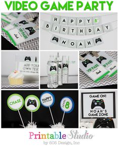 Video Game Birthday Decorations - Video Game Party Decorations - Printable Video Game Party - Green Video Game Party by Printable Studio 10th Birthday Parties, Birthday Games, Birthday Party Decorations, Boy Birthday, 12th Birthday, Birthday Ideas, Decoration Party, Birthday Celebrations, Xbox Party