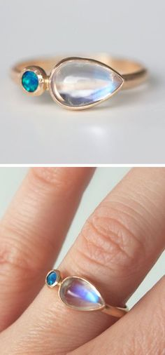 Moonstone & Opal Ring