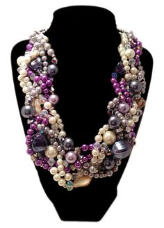 TWISTED Statement Necklace Gray Purple by JewelryByJessicaT, $75.00