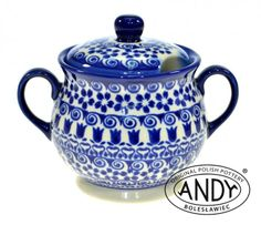 Sugar bowl in modest colors by Andy Ceramika, Polish pottery