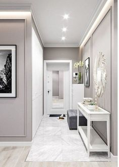 Ideas Interior Design Inspiration best gray paint colour benjamin moore revere pewter is a soft and light gray colour. Looks best with dark wood . Interior Design Living Room, Living Room Designs, Living Room Decor, Casa Pop, Home Entrance Decor, Home Decor, Flur Design, Hallway Designs, Hallway Ideas
