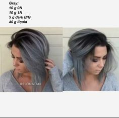 Ombre black to grey The most beautiful hair ideas, the most trend hairstyles on this page. Ombré Short Hair, Short Hair Styles, Thin Hair, My Hairstyle, Pretty Hairstyles, Hairstyle Ideas, Party Hairstyle, Bridal Hairstyle, Black And Grey Hair