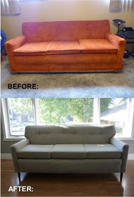 How to Re-Upholster a Sofa Thinkin of reupholstering our ugly couch from the late 70s/early 80s. Tutorial is very detailed with pictures. We'll see if I'm brave enough I tackle it!!