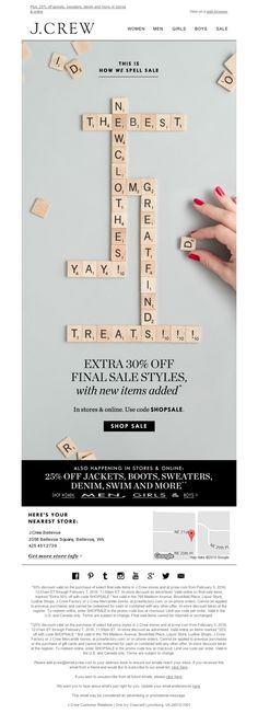 J.Crew - Our triple-word score sale: Extra 30% off starts now