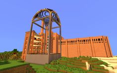 Another image of the factory I built, focusing on the glass tree farm. #minecraft