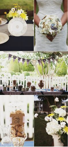 Wedding on a budget- all of the flower vases & drinking glasses were old jars. The bride also found vintage china for the dishes instead of renting and had the guests sign them instead of a guest book.