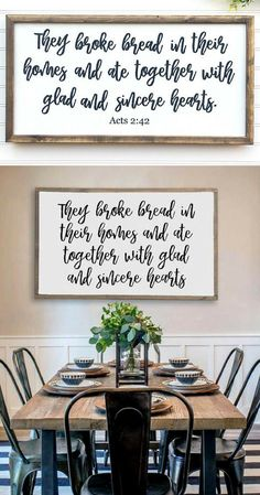 They Broke Bread In Their Homes, Acts 2:42, Hand Painted Framed Wood Sign, Bible Verse Wall Art, Scripture decor, Dining Room sign, Kitchen Decor, Farmhouse Sign, Farmhouse decor, Home decor, Rustic sign, Rustic decor #ad