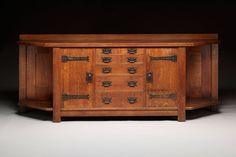 Sideboard, designed c. 1902, executed c. 1908. Gustav Stickley, American Craftsman Workshops, c. 1903–1916, manufacturer. Oak, plywood, and iron, 43 × 108 1/4 × 26 in. Crab Tree Farm.