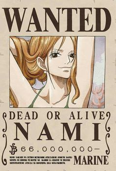 Her pose in the wanted poster is hilarious. The sexy navigator and Cat Burglar of the Straw Hats - Nami - One Piece One Piece Manga, Otaku Anime, Anime Echii, Anime Art, Zoro Nami, Roronoa Zoro, Poster One Piece, Anime Sakura, One Piece Bounties