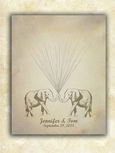 Vintage Look Wedding Guestbook Alternative Circus Elephants holding Thumbprint / Fingerprint Balloons 150 signatures ink pad included on Etsy, $30.00