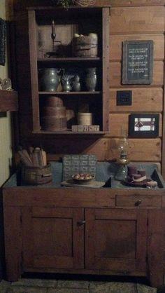 Love the dry sink! Primitive Bathrooms, Primitive Homes, Primitive Kitchen, Country Primitive, Primitive Cabinets, Primitive Furniture, Country Furniture, Wooden Furniture, Antique Furniture
