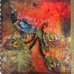 Boho Art Journaling with Stencils & Stamps is a half-day mixed media workshop with instructor Gwen Lafleur. In this coures, we make our own patterned papers to collage a fun boho-style page. Art Journal Pages, Art Pages, Art Journaling, Junk Journal, Journal Ideas, Peacock Painting, Peacock Art, Mixed Media Artwork, Mixed Media Artists
