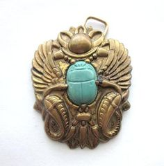 1920s Large Double Serpent Winged Scarab with Sun Disc Converted Brooch Pendant
