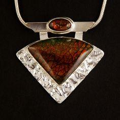 Ammolites, Sterling, Reticulating Silver, Pendant 320 – Maxine Burkholder