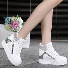 Sock Shoes, Cute Shoes, Me Too Shoes, Shoe Boots, Fashion Boots, Sneakers Fashion, Shoes Sneakers, White Casual Sneakers, Korean Shoes
