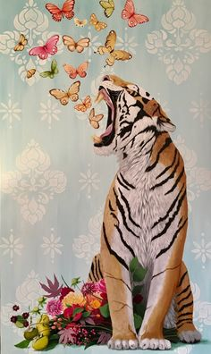 """Tiger Loves Color"" by Heather Gauthier Tiger Art, Tiger Drawing, Tiger Painting, Aesthetic Art, Cute Wallpapers, Collage Art, Art Inspo, Pop Art, Art Projects"