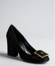 Gucci black suede buckle embellished block heel pumps