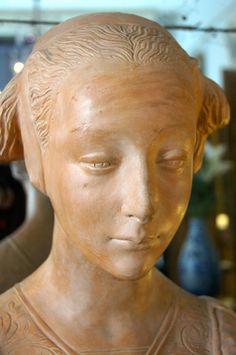 Bust, Italian Renaissance style. Beautiful #terracotta sculpture, bust, in the Italian Renaissance style, period late #19thcentury. Lots of character with a pretty intense look. For sale on Proantic by Antiquaire Chenal & Gaubert.