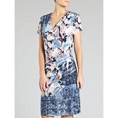 Buy Gerry Weber Patterned V-Neck Jersey Dress, Blue/Pink Online at johnlewis.com