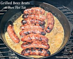 Nothing beats a good brat. I now have my favorite way to make beer brats and onions with this grilled beer brats in a beer hot tub recipe. Brats Recipes, Beer Recipes, Grilling Recipes, Cooking Recipes, Dinner Recipes, How To Cook Bratwurst, How To Cook Brats, Brat Sausage, Grilled Italian Sausage