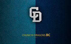 Download wallpapers Chunichi Dragons, 4K, Japanese baseball club, logo, leather texture, Nagoya, Aichi, Japan, Nippon Professional Washoowall, baseball