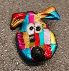 Purple and Blue Dog Pin with Black Nose by JustPlainJane on Etsy, $5.00