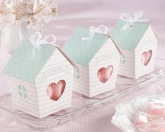 """http://www.mybomboniere.it/matrimonio/bomboniere-per-tema/shabby-chic/portaconfetti-love-nest.html Families grow, and as they grow, their homes are filled with more and more love. Kate Aspen's """"Home Tweet Home"""" bird house baby shower favor box, besides being a pure pastel delight, makes a sweet statement about the moment--and the future."""